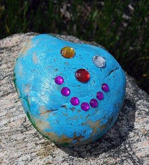 Rock, Smiley Face, Smile, Blue, Decorative, Ornamental
