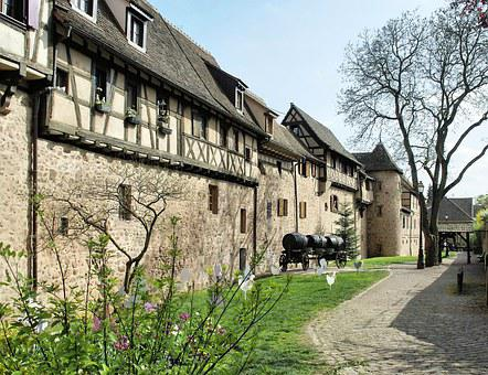 Alsace, Riquewihr, Street, Fortified House, Studs