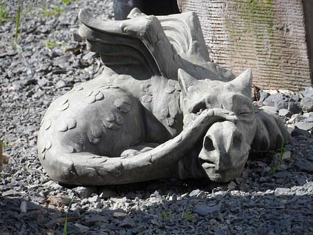 Sculpture, Dragon, Stone, Horticulture, Outside Art