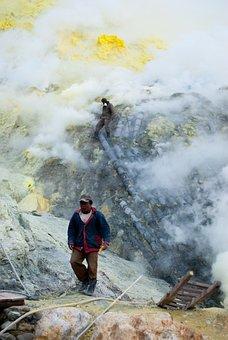 Sulfur, Work, Volcano, Indonesia, Bromo, Steam