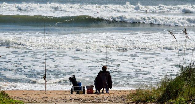 Surf Fisherman, Fishing, Person, Beach, Ocean, Water