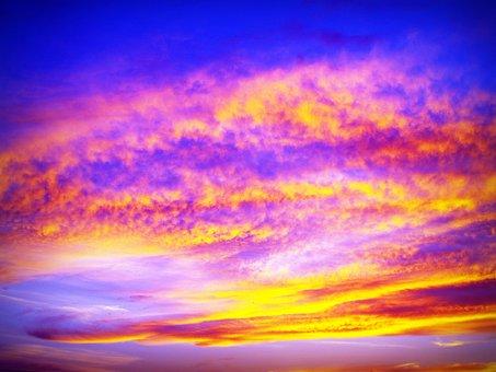 Sunset, Sky, Red, Gold, Heaven, Vibrant, Twilight