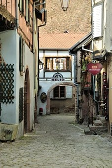 Alsace, Riquewihr, Porch, Dealer, Wine, Harvest
