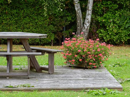 Table, Flowers, Resting Place, Wood, Wooden Table
