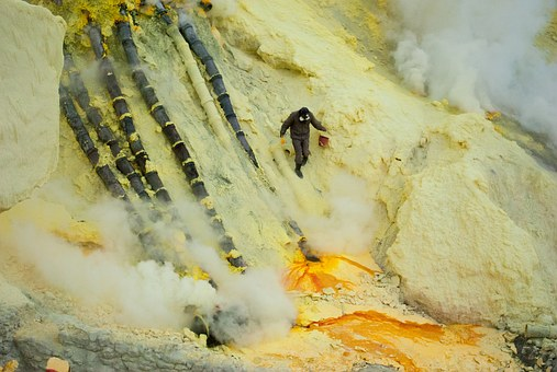 Environment, Sulfur, Work, Volcano, Indonesia, Bromo
