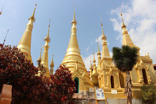 Architecture, Religion, Temple, Gold, Travel, Stupa