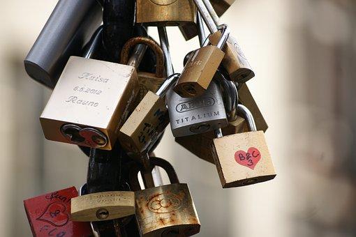 Security, Love, Symbol, Yale Lock, Bridge, Valentine