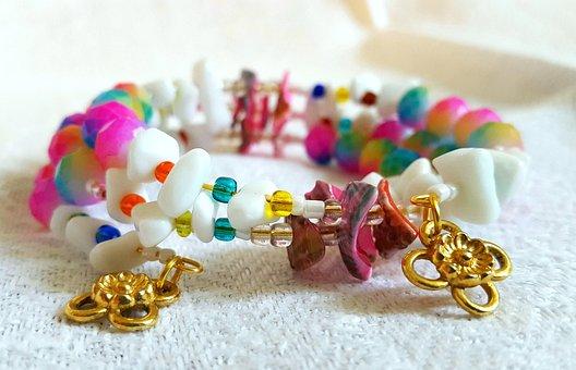 Colorful, Bright, Rainbow, Bracelet, Gemstone, Gold
