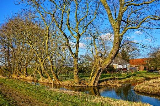 Creek, Water, Trees, Farmhouse, Landscape, Rural