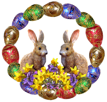 Easter, Rabbits, Flowers