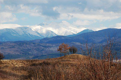 Scenery, Mountains, Snow, Spring, Brown, Clouds