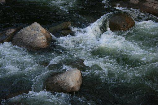 Water, Rock, Nature, Stream, Waterfall, Merced River