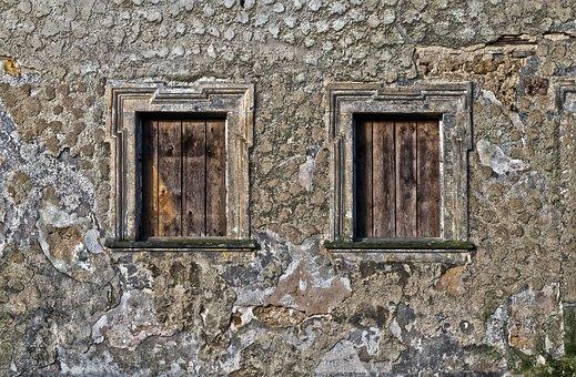 Window, Old Window, Nailed It, Wall, Facade, Weathered