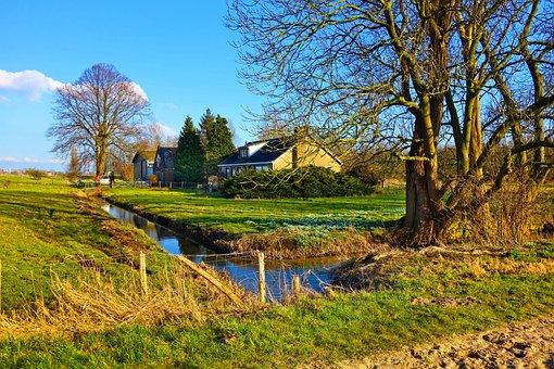 Farm House, House, Building, Tree, Creek, Water, Field