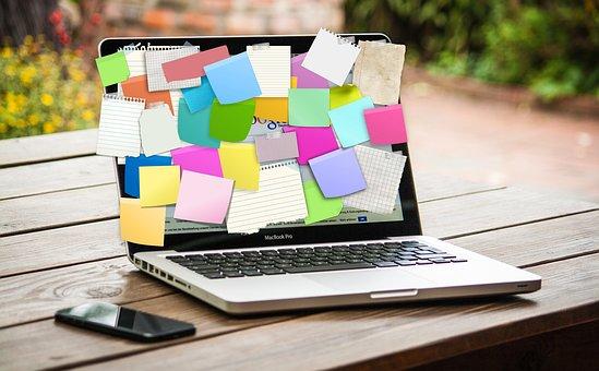 Laptop, Computer, Stickies, Post-it, List, Business