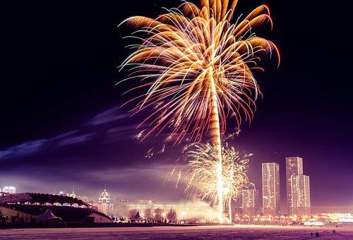 Fireworks, Bright, Dark, Evening, Light, Sky, Color
