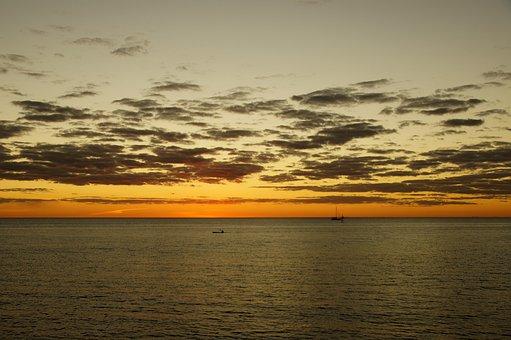 Sunset, Waters, Dawn, A Bird's Eye View, Twilight, Sea