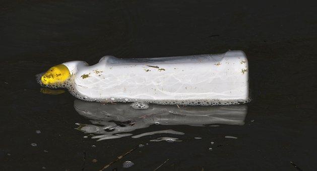 Bottle, Gooseneck, Floats, Pollution, Spotty, Dirty
