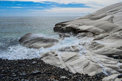 Pebble Beach, Nature, Sea, Rock, White, Landscape, Wave