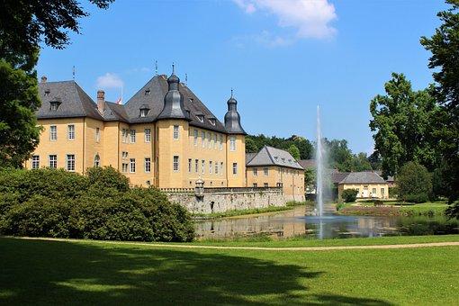 Rush, Home, Grass, Palace, Schloss Dyck, Moated Castle