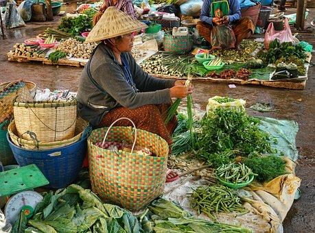 Trader, Market, Vegetables, Asia, People, Sell, Sale