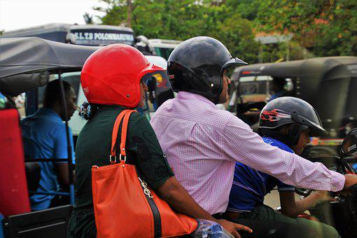 Helmet, Red, Three, Motor, People, Vehicles, Sri Lanka