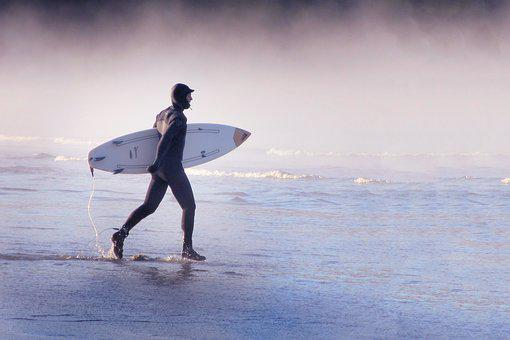 Surfer, Action, Surf, Beach, Waters, Sea, Head, Water