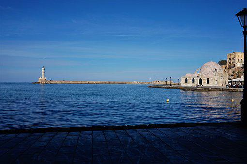 Waters, Sea, Lighthouse, Travel, Architecture, Hania