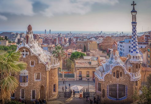 Barcelona, Spain, Guell Park, Gaudi, Architecture, City