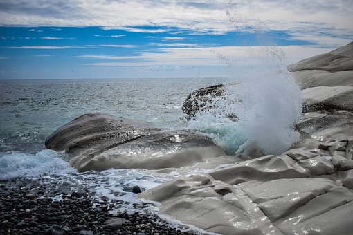 Pebble Beach, Nature, Sea, Splash, Rock, White