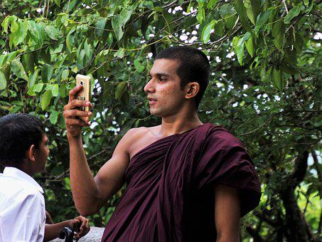Phone, Monk, At The Court Of, Adult, Male, Nature