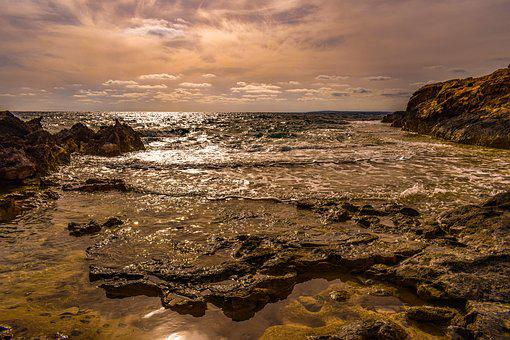 Rocky Coast, Seashore, Sea, Landscape, Nature, Sunset
