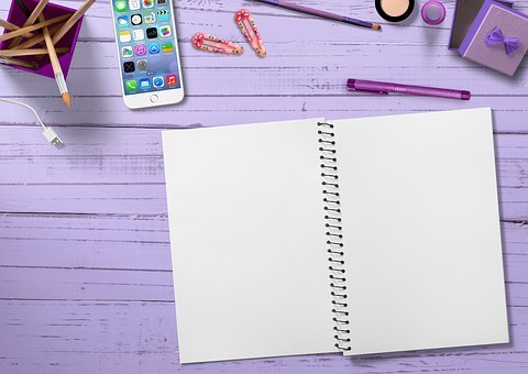 Notepad, Mobile Phone, Make Up, Hair Clips, Marker Pen