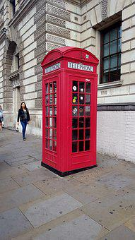 London, Red, Phone Booth, Phone