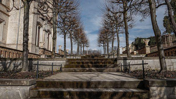 Architecture, Old, Schlossgarten, Stairs, Trees