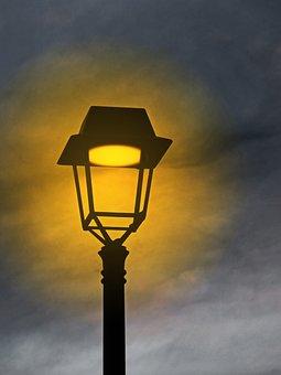 Street Lamp, Sunset, Light