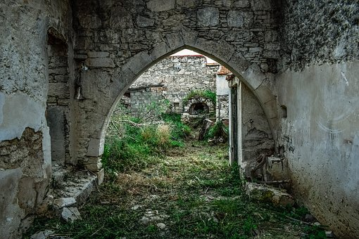 House, Old, Architecture, Abandoned, Stone, Arch, Wall