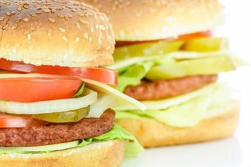 Burgers, A Sandwich, Bread, Hamburger, Salad Crop