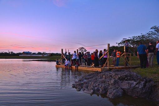 Dusk, Ferry, Lake, Water, Travel, Outdoors, Landscape