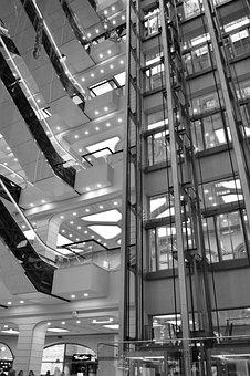 Elevators, Elevator, Shopping Center, Building