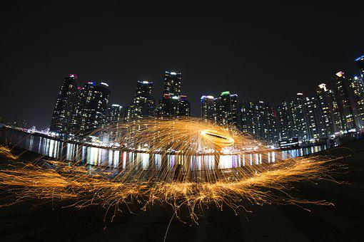 Night View, Flame, Building, Iron Wool, Lighting, Sea