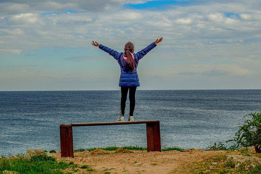 Girl, Sea, Sky, Clouds, Horizon, View Point, Bench
