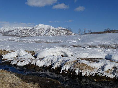 Mountains, Ridge, Valley, River, Nature, Height, Snow