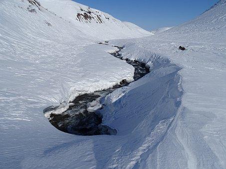 Mountains, Volcano, Winter, Snow, Snowdrifts
