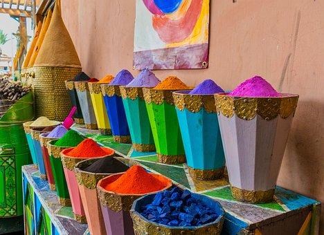 Stock, Sale, Market, Shop, Marrakesh, Spices, Colors