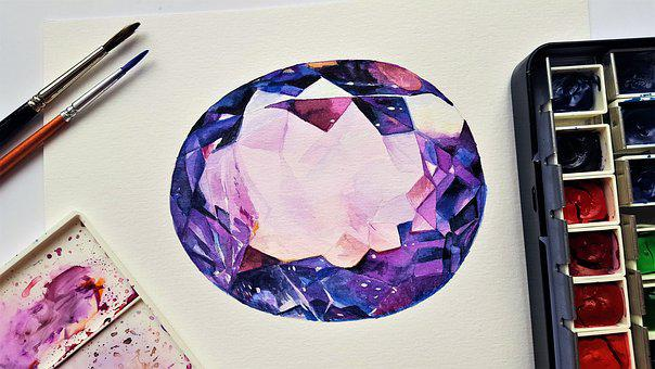 Stone, Gemstone, Amethyst, Painting, Art, Watercolor