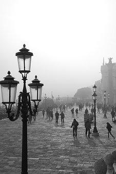 People, Outdoors, Lantern, Venice, Fog, Mist, Lamp