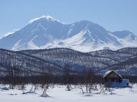 Mountains, Volcano, Ridge, Valley, House, Recreation
