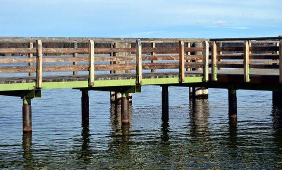 Waters, Pier, Reflection, Lake, Sky, Web, Piles, Wood