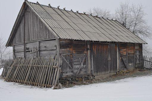 Barn, Wood, Winter, House, Roof